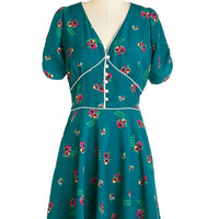 Trollied Dolly Vintage Inspired Mid-length Short Sleeves A-line One, Two, Tea Dress