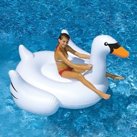 Good Quality Summer Lake Swimming White Swan Inflatable Float Toy Pool Kid Giant Rideable Raft Ocean Floating Toy