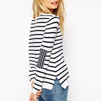 ASOS Jumper in Stripe With Elbow Patch