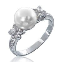 Bling Jewelry Flower CZ Pearl Engagement Ring - Size 7
