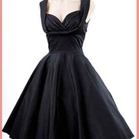 Trashy Diva Black 50's Inspired Honey Swing Dress-Retro Little Black Dresses