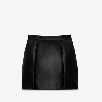 SAINT LAURENT 80'S MINI SKIRT IN BLACK LEATHER | YSL.COM