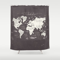 The World Map Shower Curtain by Mike Koubou