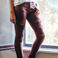 Scrap Ripped Low-Rise Skinny Jeans