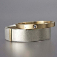 Gold and Silver Wedding Set with Tiny Diamond - Women's 2mm wide gold band & 6mm Wide Mens Mixed Metals Band - Part of You