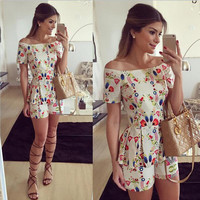 Europe Summer new collar sexy shorts printed flounce Jumpsuit aliexpress sellers