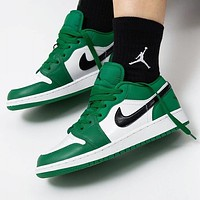 Nike Air Jordan 1 Fashionable Women Men Casual Sport Running Shoes Sneakers White&Green