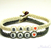 Bae Bracelets for Couples or Best Friends, Before Anyone Else, White and Grey Macrame Hemp Jewelry