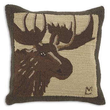 Great Moose Hooked Wool Pillow - 26""