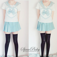 Blue/Pink Sailor School Look Heart Bow T-shirt TOP ONLY SP130068