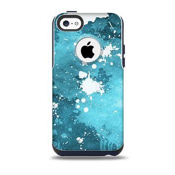 The Abstract Bleu Paint Splatter Skin for the iPhone 5c OtterBox Commuter Case