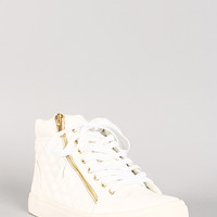 Quilted Leatherette Zipper Lace Up Sneaker