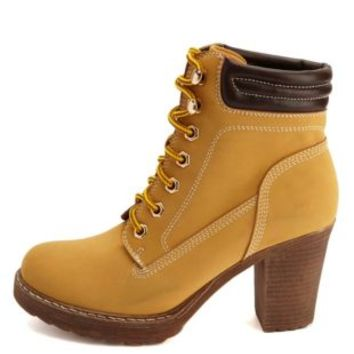 Lace-Up Chunky Heel Work Boots by from