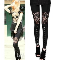 Punk Gothic Rock  Lace Legging