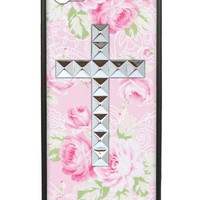 Pink Lace Floral Silver Studded Cross iPhone 5/5s Case
