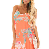 Coral Floral Print Sleeveless Swing Dress