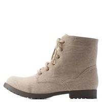Taupe Low Profile Combat Booties by Qupid at Charlotte Russe