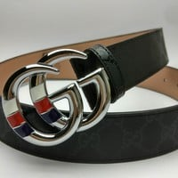 GUCCI 2018 new men's double G head wild smooth buckle belt Silver