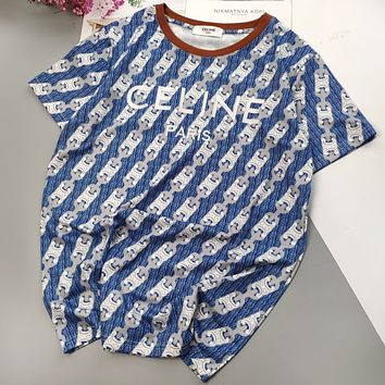 CELINE New fashion embroidery letter couple top t-shirt
