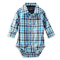 OshKosh B'gosh® Long-Sleeve Poplin Bodysuit in Blue Check