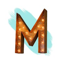 """12"""" Letter M Lighted Vintage Marquee Letters (Modern Font/Rustic)"""