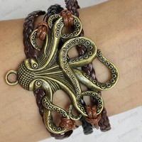 bronze octopus bracelets --personalized charm bracelets brown and black leather bracelets brown wax rope-best chosen for Gift N045