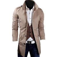 Partiss Mens High Neck Trench Coat