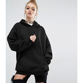 New Women's Loose Solid Color Hooded Bat Hoodie