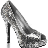 Twinkle Silver Sparkle Slip On Pumps