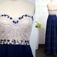 Dark Navy Prom Dresses, Custom Navy Strapless Crystal and Chiffon  Long Formal Gown, Strapless Sweetheart Navy Long Prom Gown