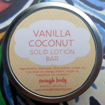 Vanilla Coconut Solid Lotion Bar ~ Body Bar ~ Massage Lotion Bar ~ Cuticle Cream