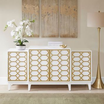 """Madison Park Gabrielle Gold/ White Dining Buffet Server Gold Lattice Design Kitchen Storage Cabinet - 68""""w x 17""""d x 34.25""""h 