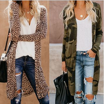 Hot sale fashion camouflage leopard snake print long sleeve cardigan