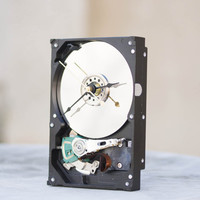 Desk clock from a recycled Computer hard drive - HDD clock - ready to ship - c0066