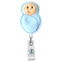 Swaddled Baby Boy -Labor and Delivery Nurses Badge Holder - Cute Badge Reels - Unique ID Badge Holder - Felt Badge - RN Badge Reel