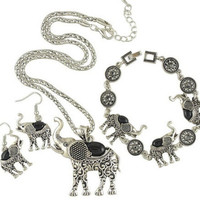 Turquoise Elephant Shape Elegant Necklace  Bracelet  Earrings Mix Options SM6