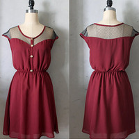 PETIT DEJEUNER in PORT - Vintage Inspired dark red chiffon dress // day // burgundy // party // bridesmaid dress // holiday