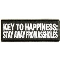 Amazon.com: Key To Happiness Stay Away From *ssholes Funny Motorcycle MC Club Patch PAT-2499: Everything Else