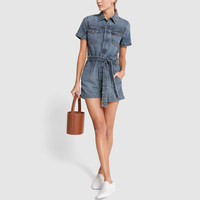 Pleated One-Piece Coverall Shorts