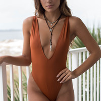 Sea Life Rust Low Cut One Piece Swim