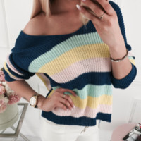 New loose V-neck women's rainbow sweater sweater