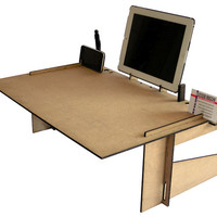 Geek bed or sofa desk organizer with display stand for smartphone and tablet docking station geekery laptop lap stand