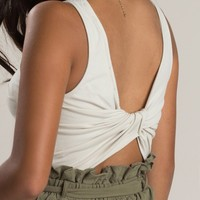 Angela Cream Knot Back Crop Top