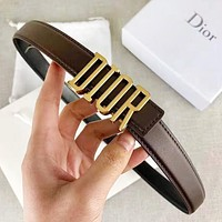Samplefine2 DIOR Fashion New Letter Buckle Leather Women Men Leisure Belt Coffee Width 2.4 CM With Box