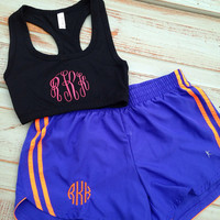 Monogrammed running shorts and sports bra combo