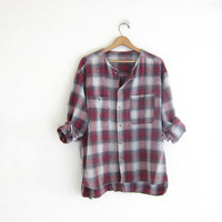 Vintage boyfriend flannel / distressed pink plaid shirt / grunge shirt / tomboy shirt with cut off collar