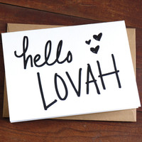 Letterpress Card - Hello Lover - I Miss You Card - Card for Boyfriend - Card for Husband - Hand Lettering