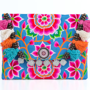Pom Poms Handmade Ipad Clutch Bag with Tribal Embroidered in Blue