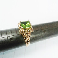 Peridot Ring Gold Filligree Princess Cut August Birthstone Cocktail Ring