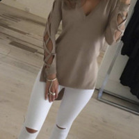 Womens V Neck Hollow Knitted Sweater + Nice Free Necklace Gift